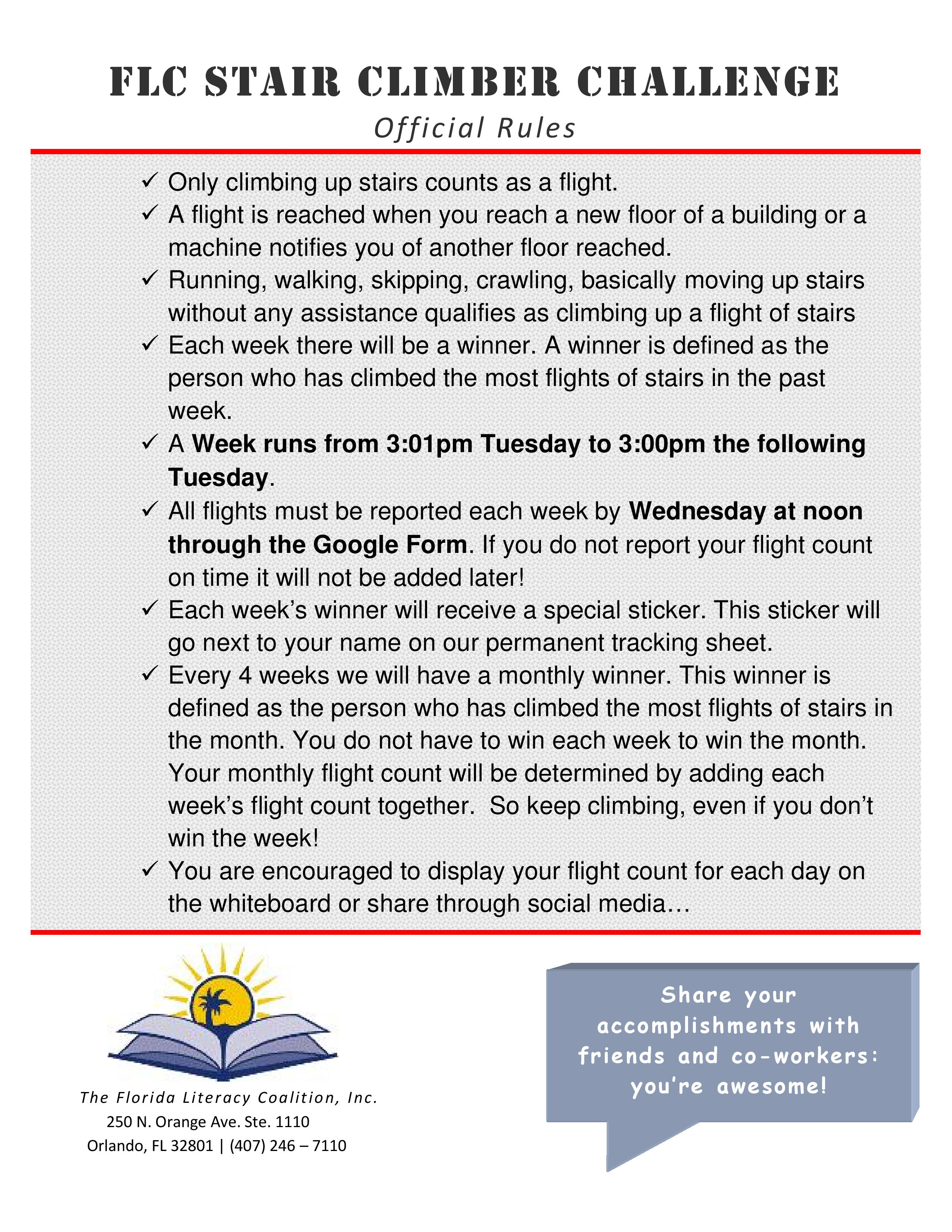 Stair Climber Challenge FLC Official Rules